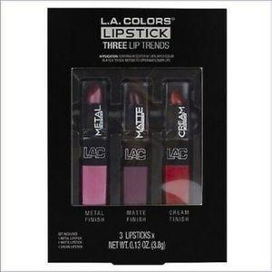 L.A. Color Lipstick 3 Lip Trends Metal Matte Cream